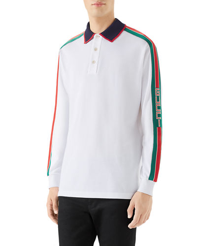 1621151315d Quick Look. Gucci · Men s Web-Striped Long-Sleeve Polo Shirt