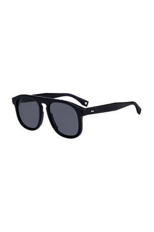 Fendi Men's Round Propionate Keyhole Sunglasses