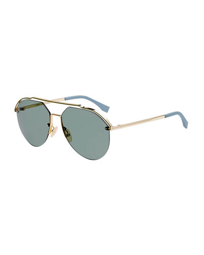 Men's Half-Rim Aviator Sunglasses