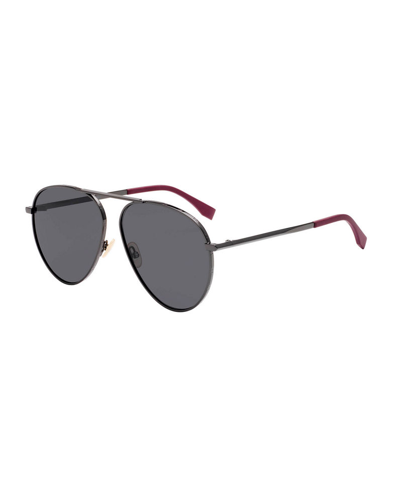 Fendi Men's Logo-Rim Metal Aviator Sunglasses