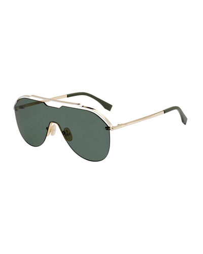 Fendi Men's Mirrored Shield Sunglasses