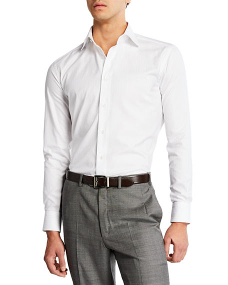Brioni Men's Textured Stripe Dress Shirt