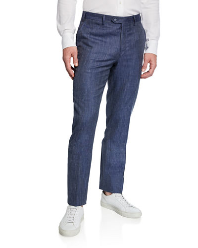 Men's Flat-Front Wool/Linen-Blend Dress Pants