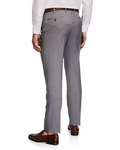 Brioni Men's Flat-Front Wool Trousers