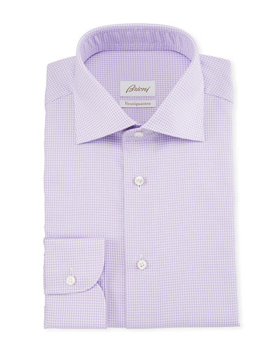 Men's Ventiquattro Houndstooth Check Dress Shirt