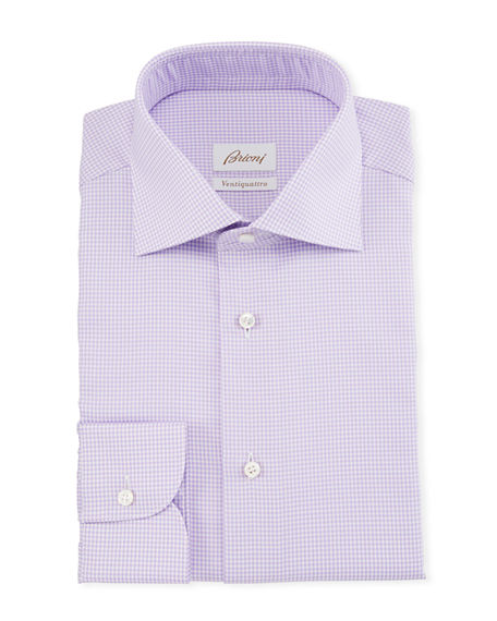 Image 1 of 2: Brioni Men's Ventiquattro Houndstooth Check Dress Shirt