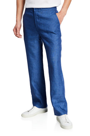 Brioni Men's Linen Drawstring Straight-Leg Pants