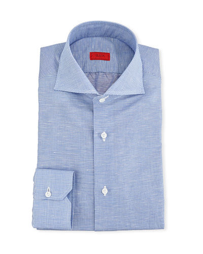 Men's Cotton/Linen Check Dress Shirt