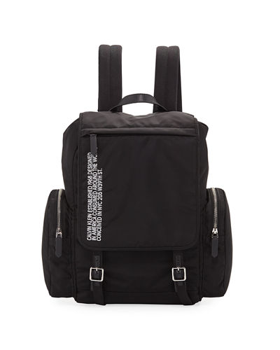 Men's Logo Typographic Flap-Top Backpack