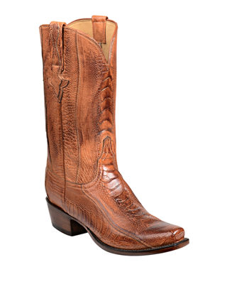 LUCCHESE Men'S Anderson Ostrich Cowboy Boots in Brown