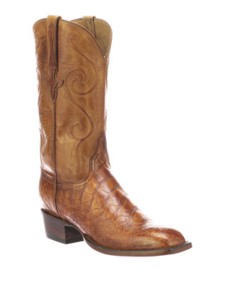 LUCCHESE Men'S Colton Gator Leather Cowboy Boots in Brown