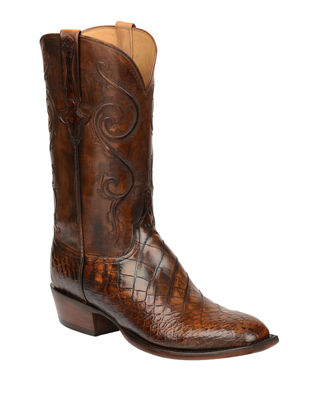 LUCCHESE Men'S Colton Gator Leather Cowboy Boots in Chocolate
