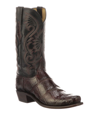 LUCCHESE Men'S Rio Gator Leather Western Cowboy Boots in Black Cherry