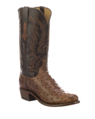 LUCCHESE Men'S Elgin Ostrich Cowboy Boots in Brown