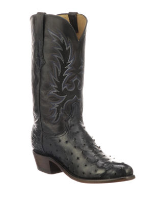 LUCCHESE Men'S Elgin Ostrich Cowboy Boots in Blue