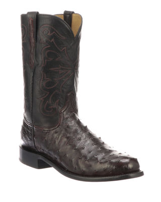 LUCCHESE Men'S Hudson Full Quill Boots in Black Cherry