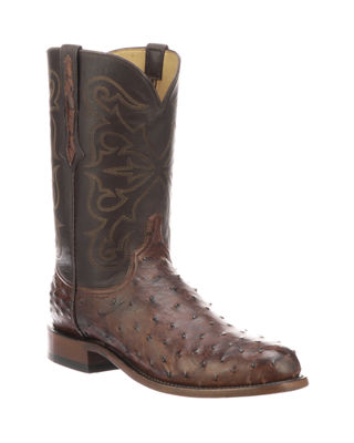 LUCCHESE Men'S Hudson Full Quill Boots in Antique Brown