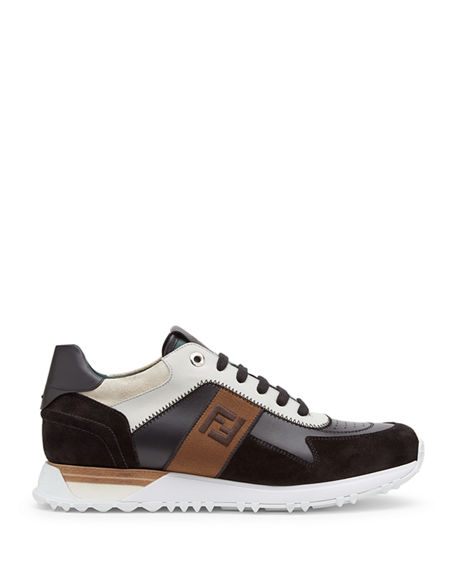 c1a88c9d Men's FF Embroidered-Stripe Leather Runner Sneakers