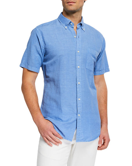 Peter Millar T-shirts MEN'S SEASIDE LINEN/COTTON SHORT-SLEEVE SPORT SHIRT