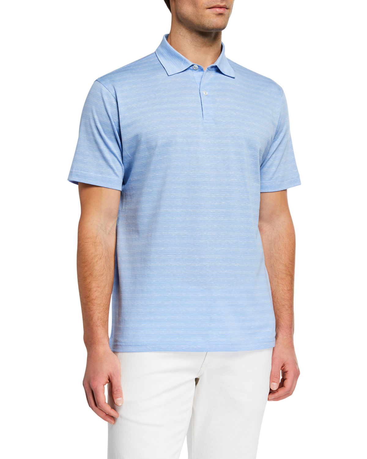 Peter Millar T-shirts MEN'S VINTAGE COAST LINEN-BLEND POLO SHIRT