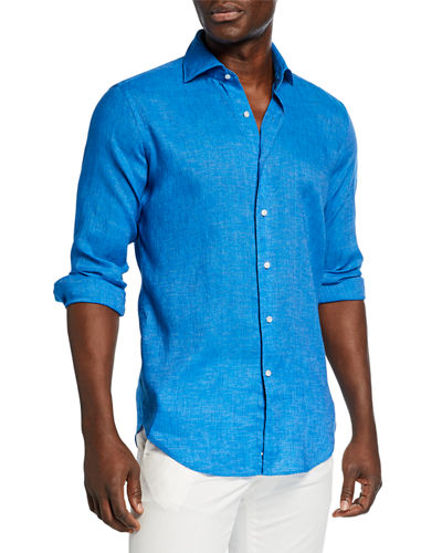 Men's Long-Sleeve Summertime Linen Sport Shirt