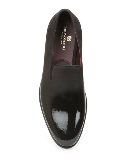 Image 2 of 4: Bruno Magli Men's Picasso Damask-Velvet Loafers