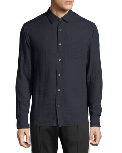 Men's Double-Face Cotton Button-Front Shirt