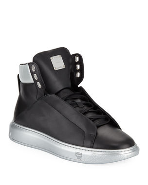 3b0feab8a7a MCM Men s Visetos-Trim Leather High-Top Sneakers