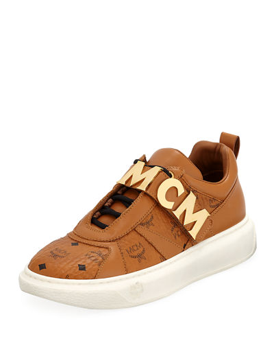 5224d333646 MCM Men s Logo-Strap Leather Mid-Top Sneakers