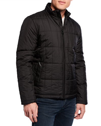 Cole Haan Men's Grid Quilted Jacket with Fold-Up Hood