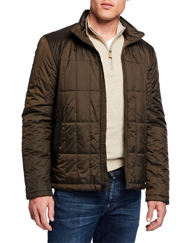 Men's Grid Quilted Jacket with Fold-Up Hood