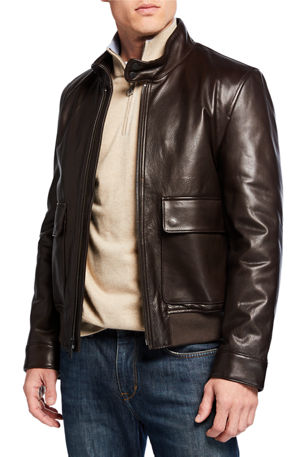 Cole Haan Men's Leather Zip-Front Jacket