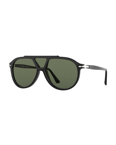 Men's PO3217S Acetate Shield Sunglasses