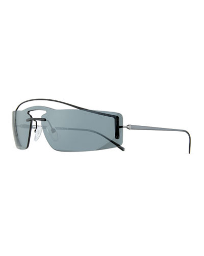 Men's Rectangle Shield Sunglasses - Mirror Lens