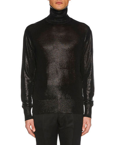 Men's Silvered Knit Silk Sweater