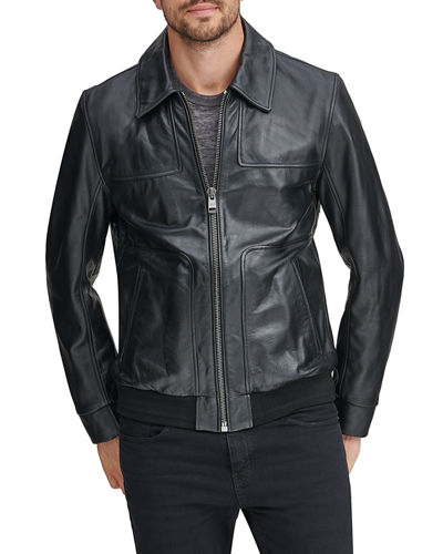 Men's Vaughn Zip-Front Leather Jacket