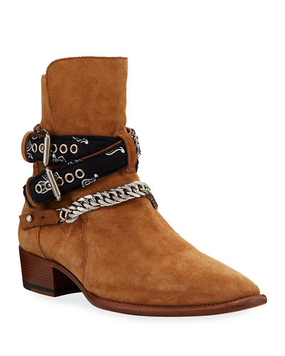 Men's Bandana Buckle Ankle Boots