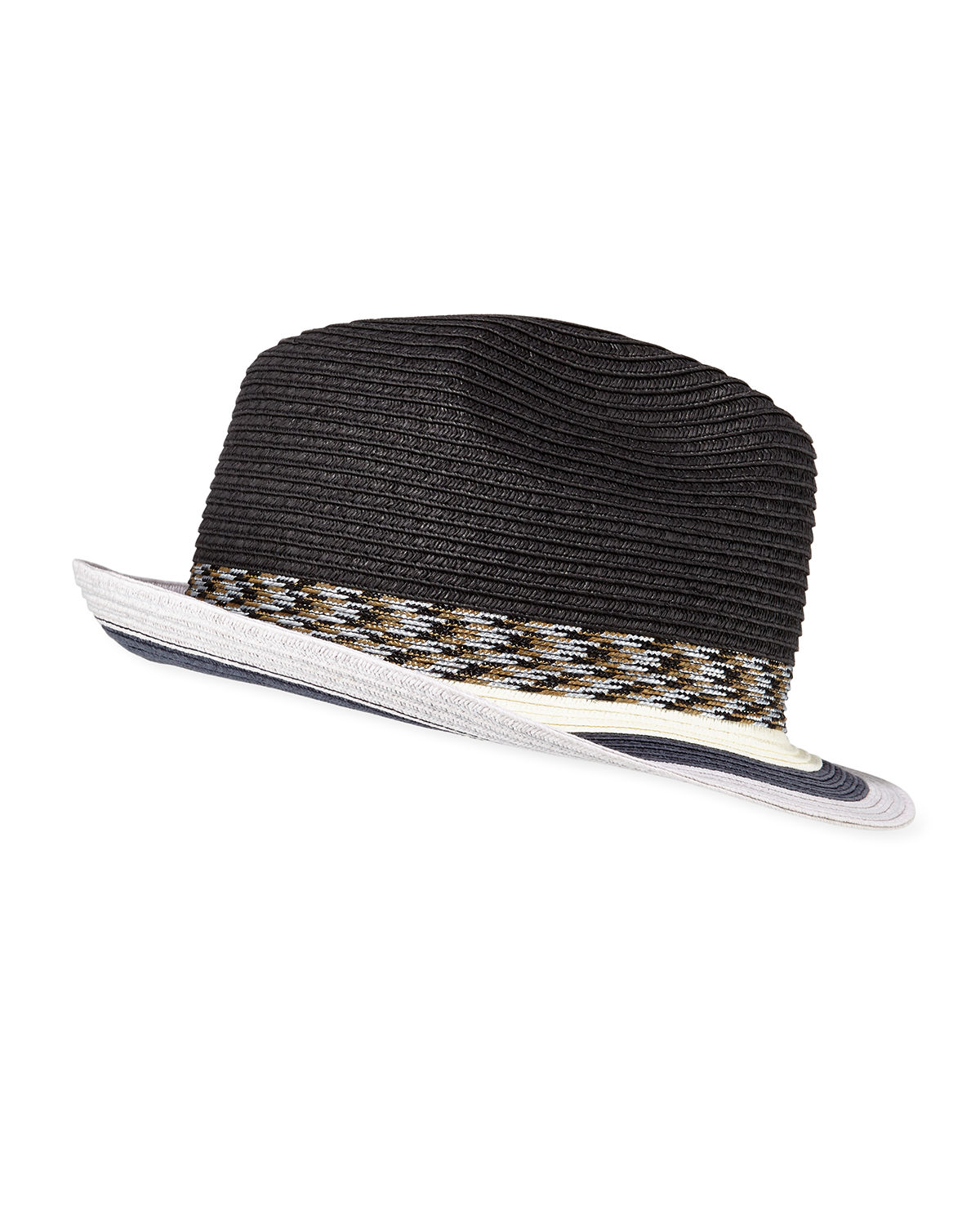 fb7cce27cfb4c Paul Smith Men s Striped-Brim Straw Fedora Hat