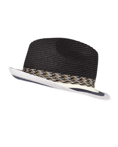 Paul Smith Men's Striped-Brim Straw Fedora Hat