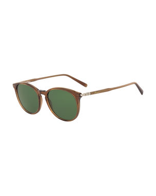 be5d5929d15 Salvatore Ferragamo Men s Timeless Thin Round Acetate Pantos Sunglasses