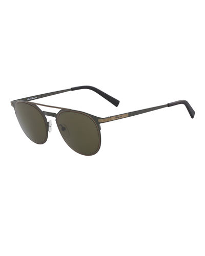 Men's Two-Tone Metal Sunglasses with Double Bridge