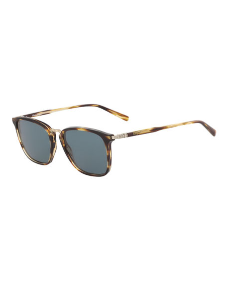 Salvatore Ferragamo Men's Timeless Metal-Bridge Sunglasses