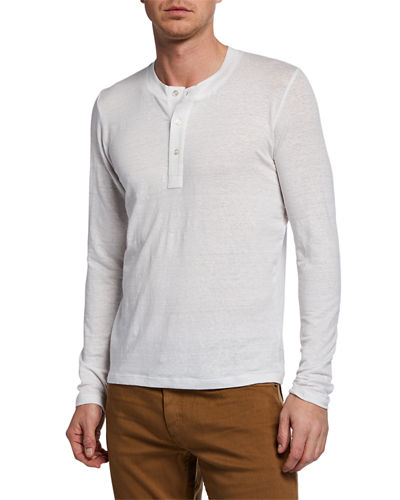 Men's Linen-Blend Henley Shirt