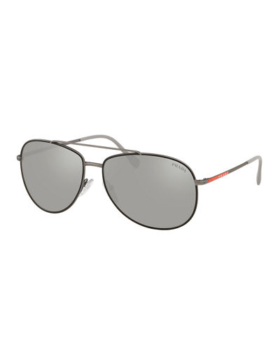 Men's Metal Mirrored Aviator Sunglasses