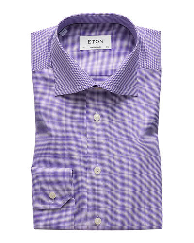 Eton Men's Contemporary-Fit Houndstooth Dress Shirt