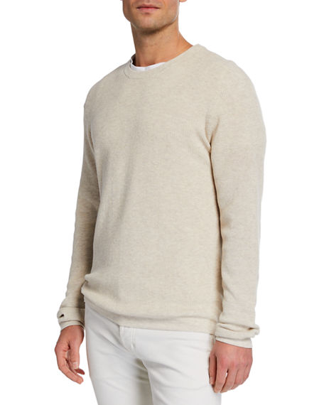 Neiman Marcus Knits MEN'S SHAKER KNIT ORGANIC COTTON CREWNECK SWEATER