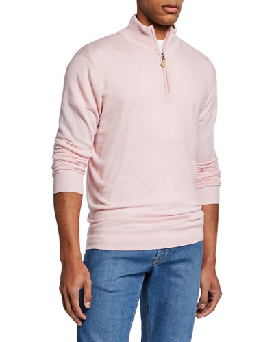 Men's Cashmere/Silk Quarter-Zip Sweater