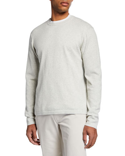 Men's Mini-Cable Cotton Crewneck Sweater