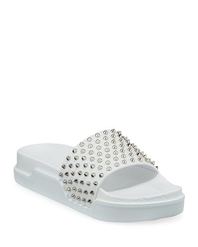 Men's Spiked Leather Pool Slides