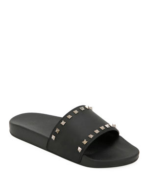 c2a2f037785 Valentino Garavani Men s Rockstud Pool Slide Sandals
